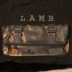 LAMB foldover zip clutch
